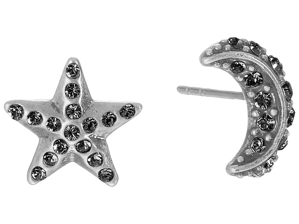 Marc Jacobs - Moon Star Studs Earrings (Black Diamond/Antique Silver) Earring