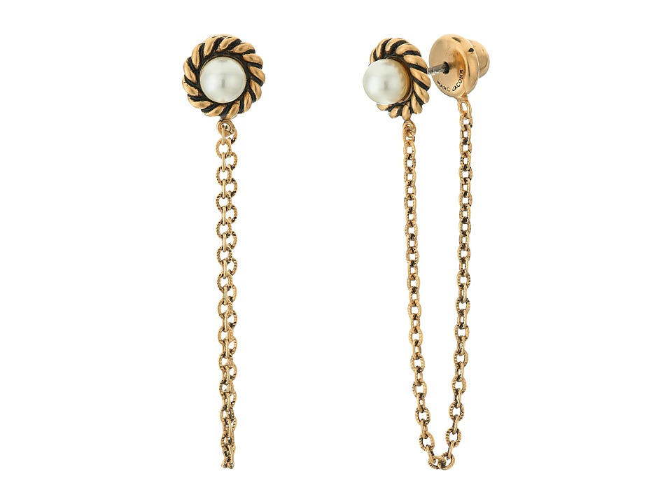 Marc Jacobs - Chain Pearl Cabochon Stud Earrings (Cream/Antique Gold) Earring