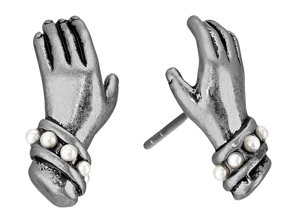 Marc Jacobs - Pave Hand Studs Earrings (Antique Silver) Earring