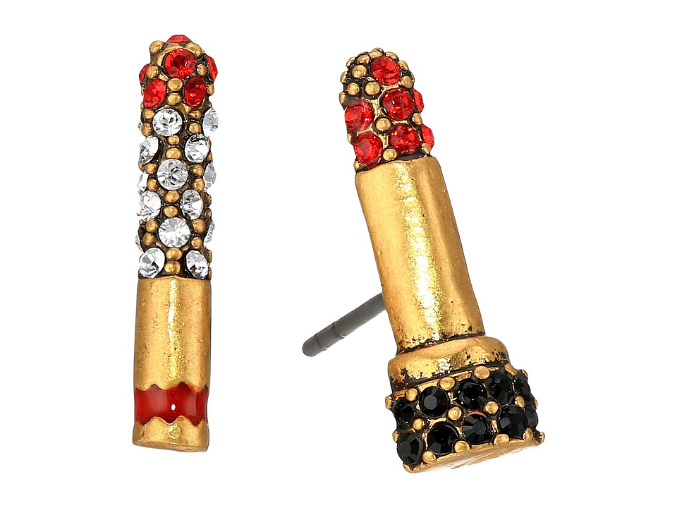 Marc Jacobs - Lipstick Cigarette Studs Earrings (Red/Antique Gold) Earring