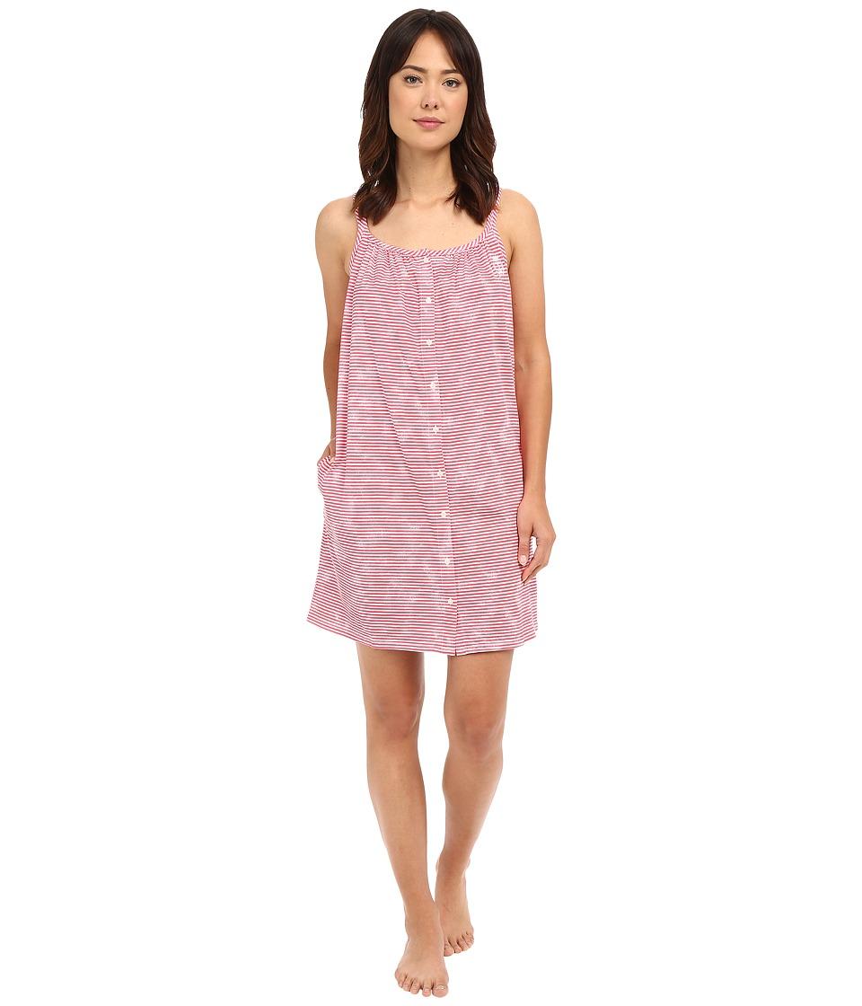 LAUREN Ralph Lauren - Tank Short Gown (Narrow Stripe Red) Women's Pajama