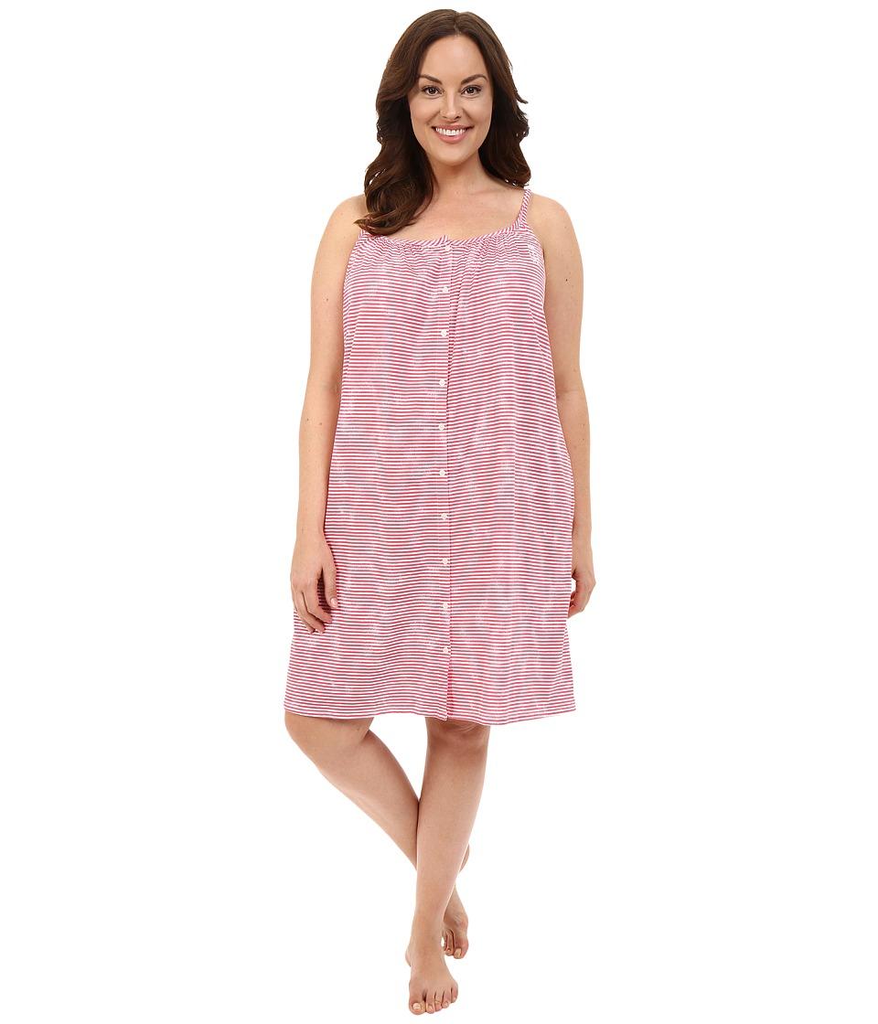 LAUREN Ralph Lauren - Plus Size Tank Short Gown (Narrow Stripe Red) Women's Pajama