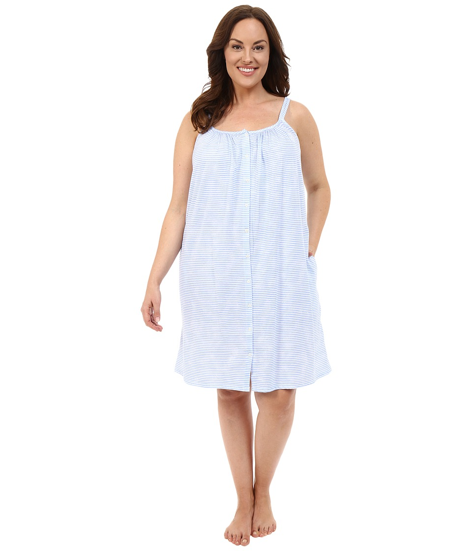 LAUREN Ralph Lauren - Plus Size Tank Short Gown (Narrow Stripe Blue) Women's Pajama