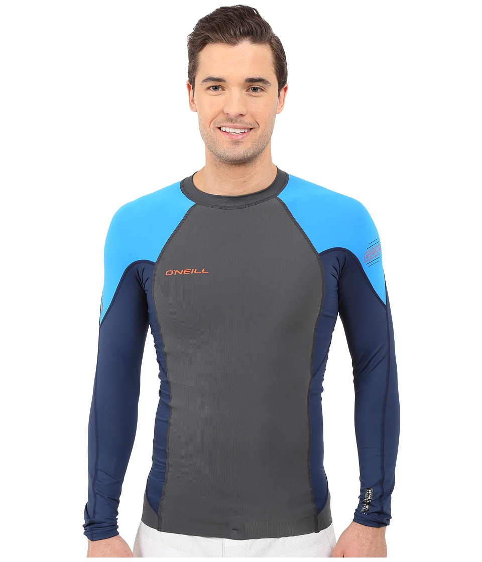 O'Neill - Hyperfreak Neo/Skins Long Sleeve Crew (Graphite/Navy/Brite Blue) Men's Swimwear