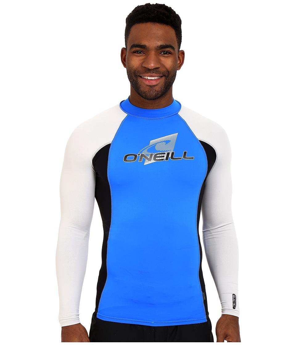O'Neill - Skins L/S Crew (Brite Blue/Black/Lunar) Men's Swimwear