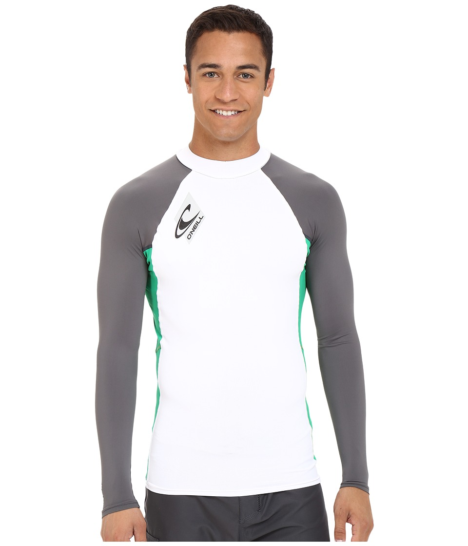 O'Neill - Skins L/S Crew (White/Clean Green/Graphite) Men's Swimwear