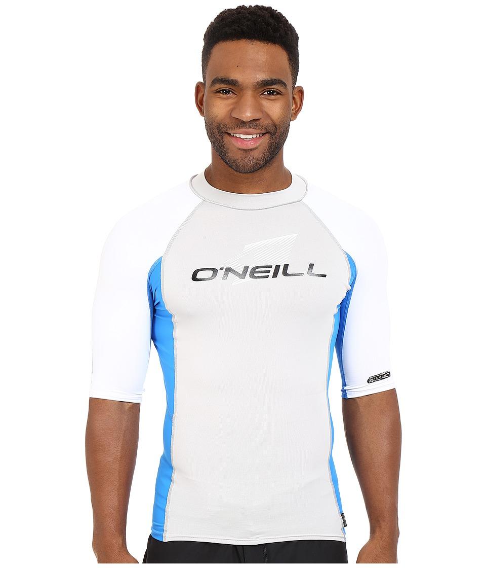 O'Neill - Skins S/S Crew (Lunar/Brite Blue/White) Men's Swimwear