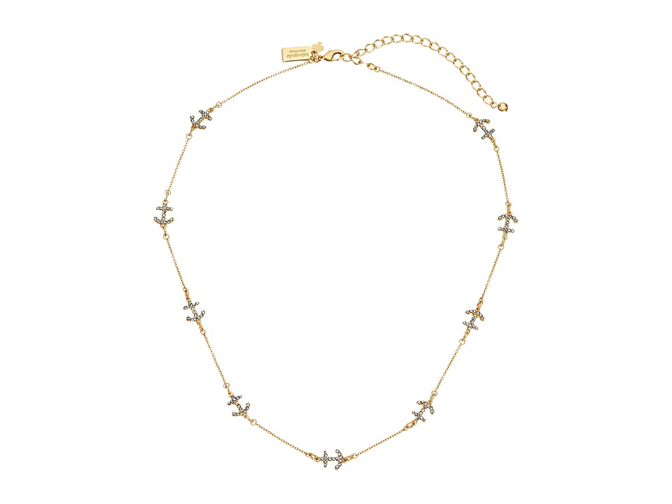Kate Spade New York - Anchors Away Pave Anchor Short Scatter Necklace (Clear/Gold) Necklace