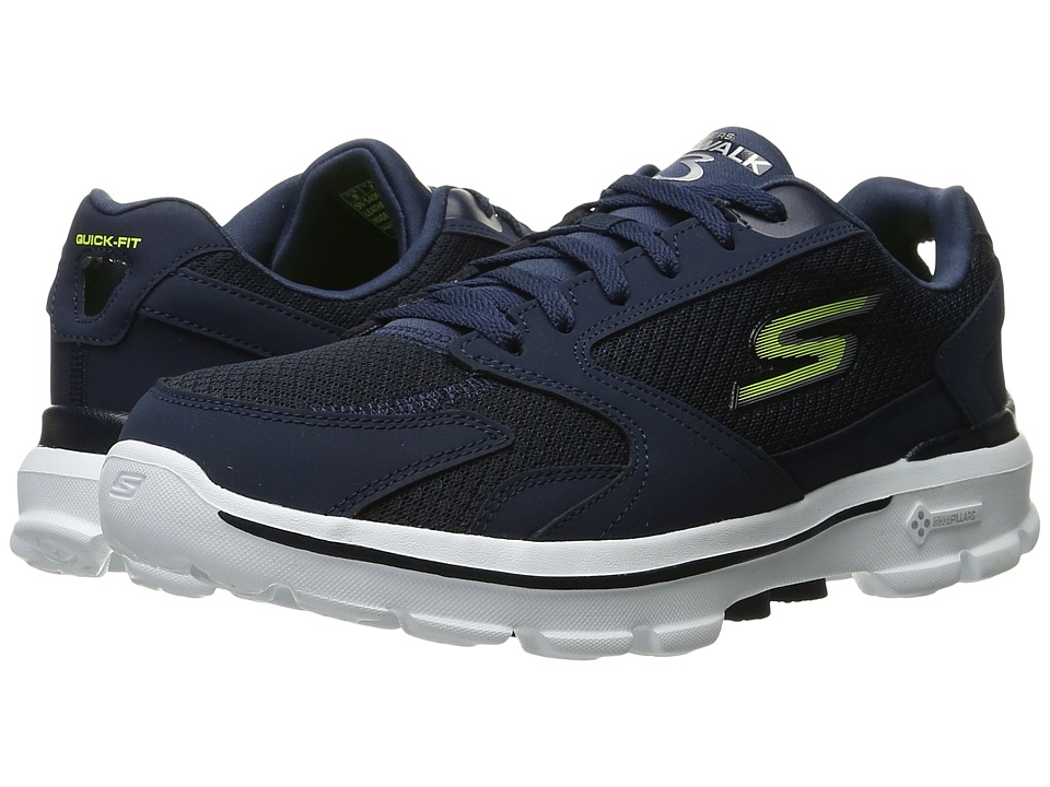 SKECHERS Performance - Go Walk 3 (Navy/Lime) Men's Lace up casual Shoes
