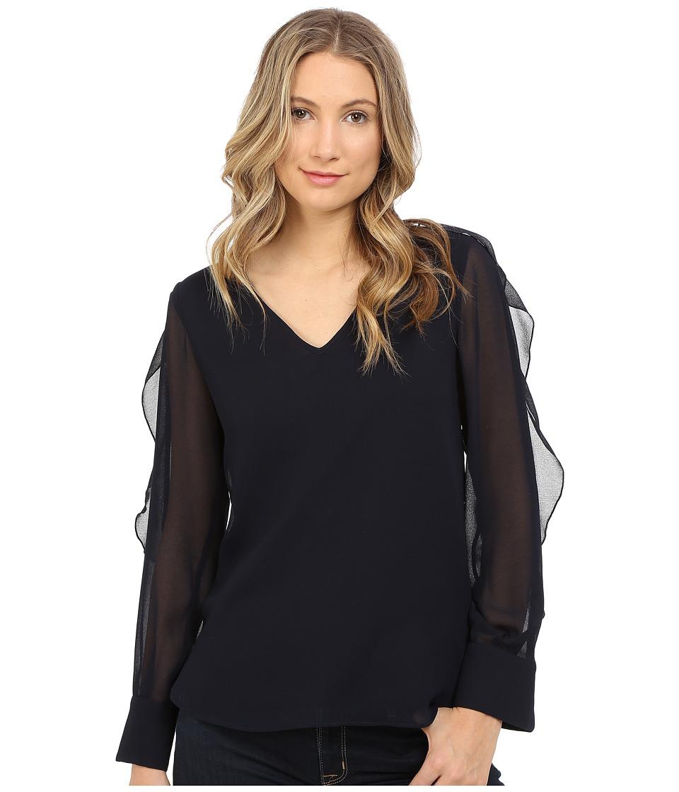 See by Chloe - Ruffle Sleeve Georgette Blouse (Dark Navy) Women's Blouse