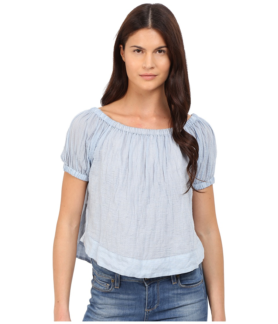 See by Chloe - Striped Cotton Voile Off the Shoulder Blouse (Forever Blue) Women's Blouse