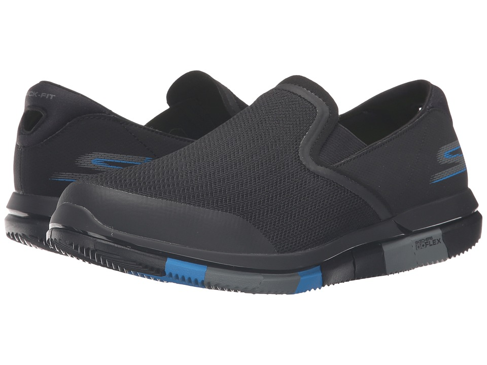 SKECHERS Performance - Go Flex (Black/Blue) Men's Slip on Shoes