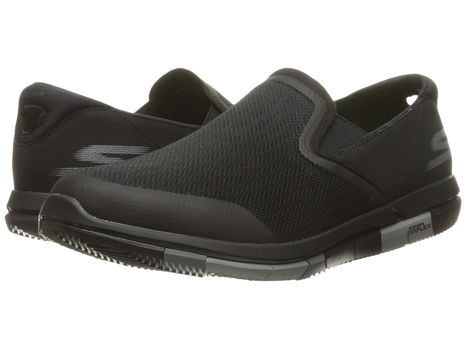 SKECHERS Performance - Go Flex (Black/Gray) Men's Slip on Shoes