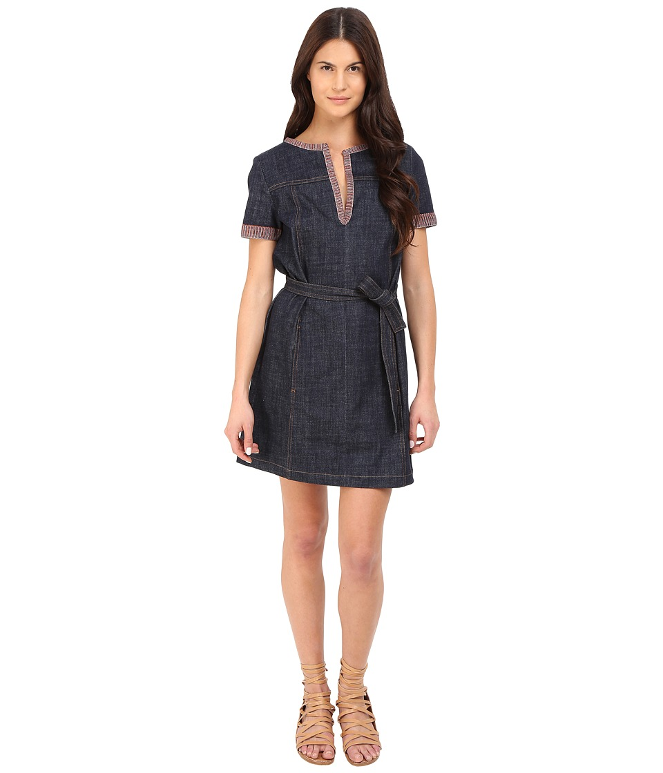 See by Chloe - Embellished Denim Short Sleeve Dress (Indigo) Women's Dress