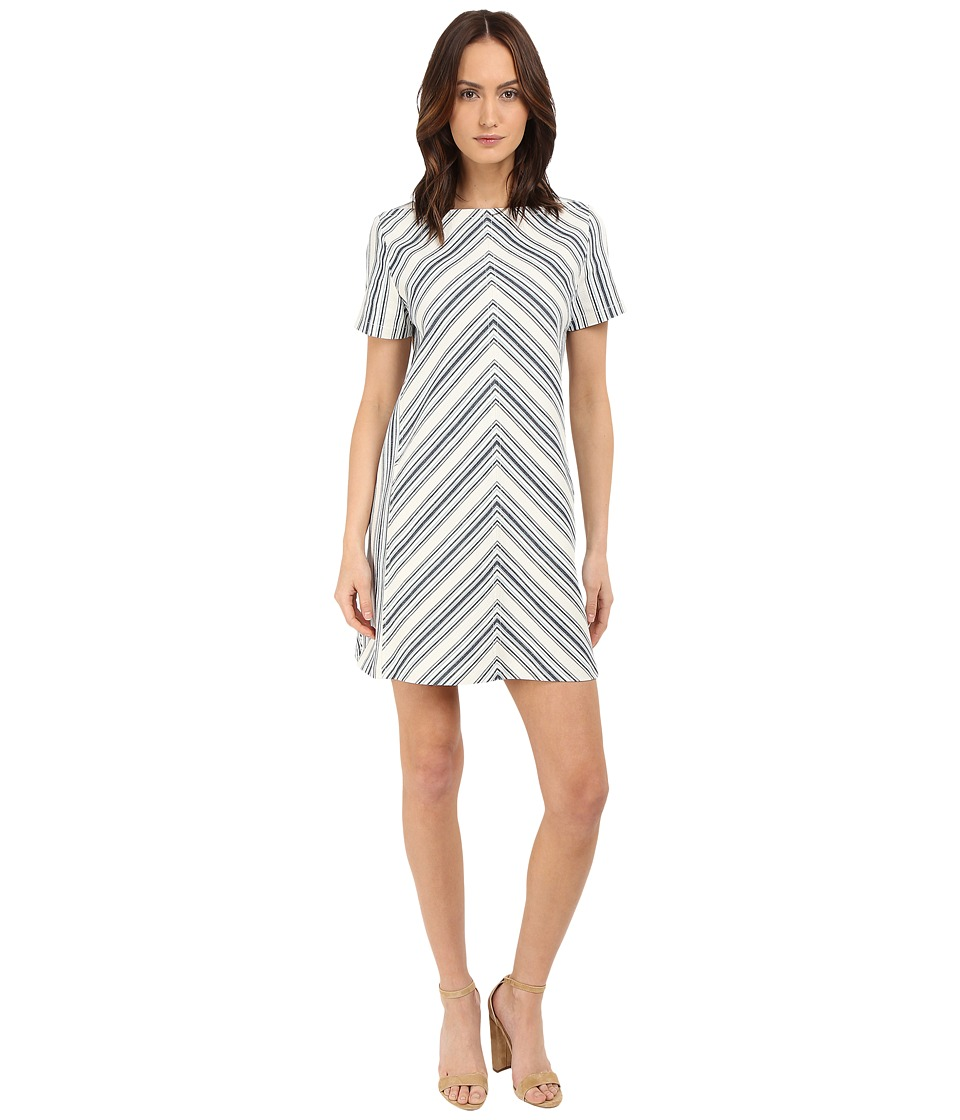 See by Chloe - Striped Cotton Mix Short Sleeve Dress (Surfing Blue) Women's Dress