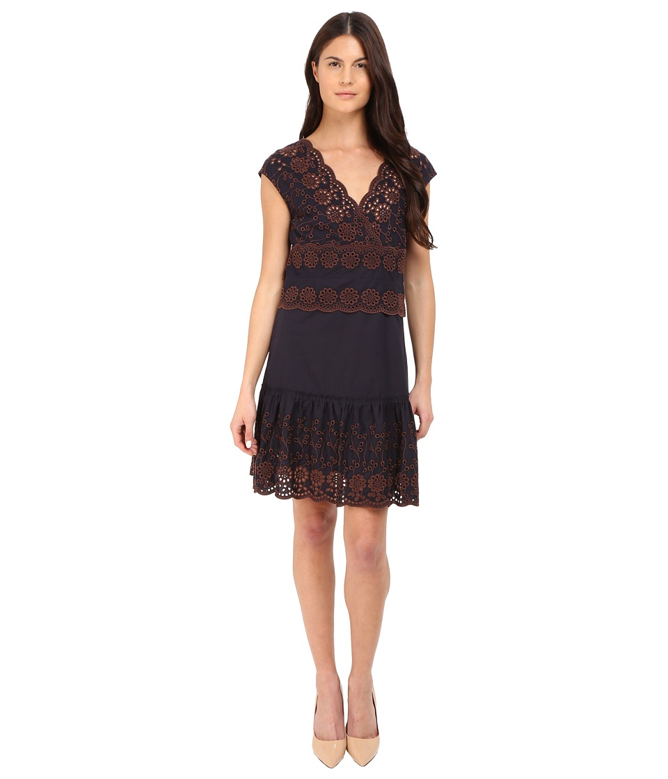 See by Chloe - Embroidered V-Neck Dress (Dark Navy) Women's Dress