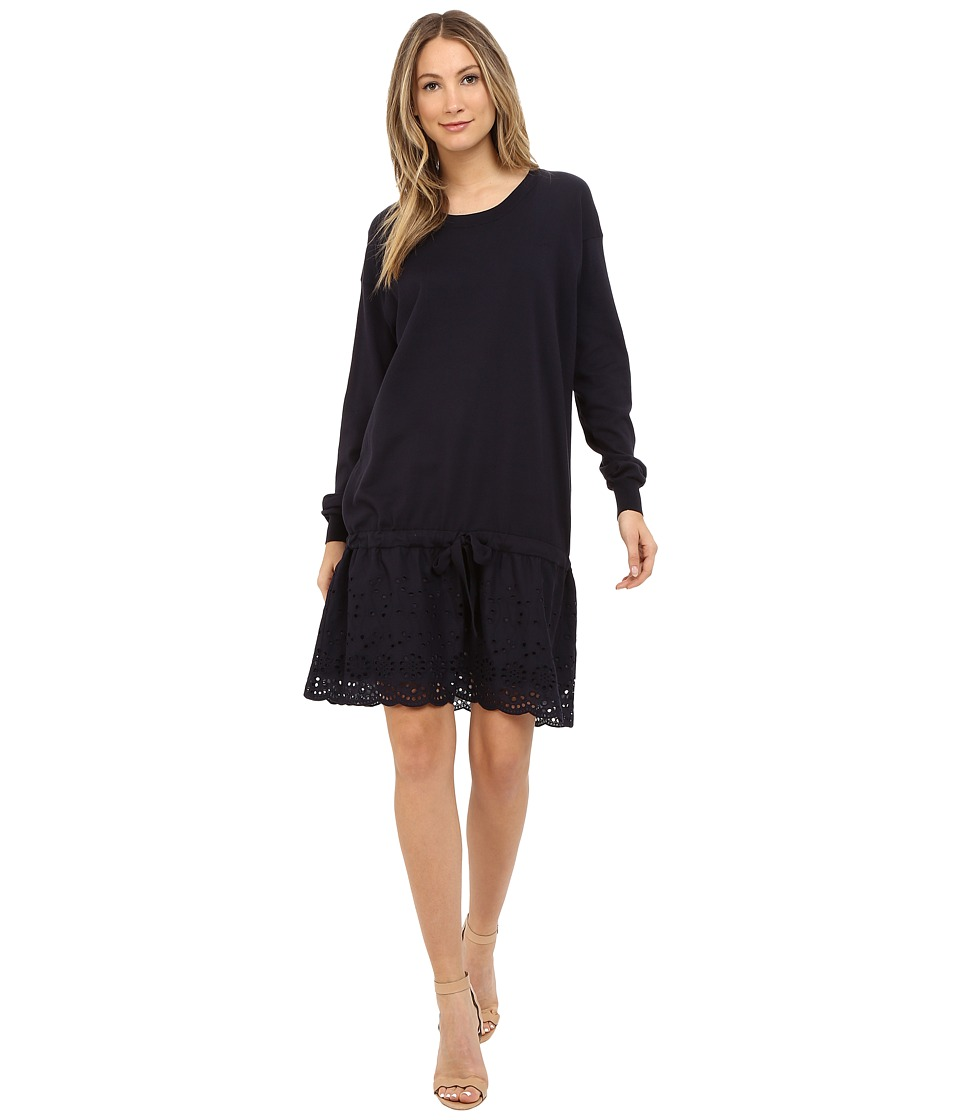 See by Chloe - Embellished Jersey Dress (Dark Navy/Dark Navy) Women's Dress