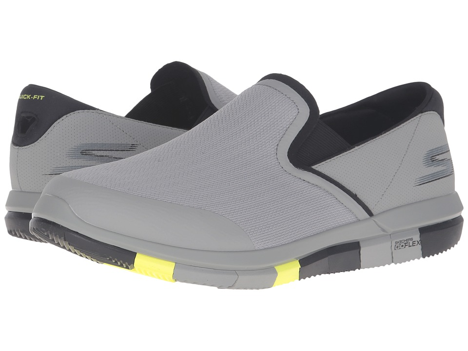 SKECHERS Performance - Go Flex (Light Gray/Lime) Men's Slip on Shoes