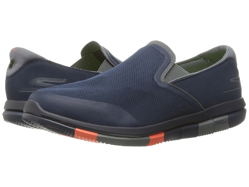 SKECHERS Performance - Go Flex (Navy/Orange) Men's Slip on Shoes