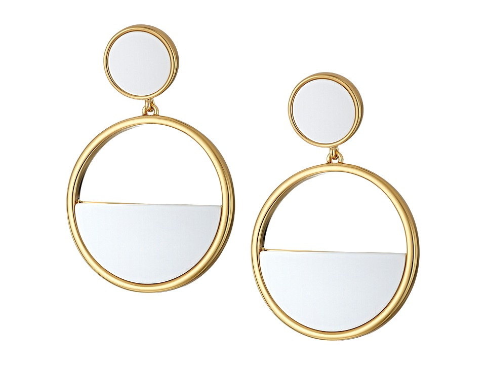 Kate Spade New York - Classic with A Twist Drop Hoop Earrings (White) Earring