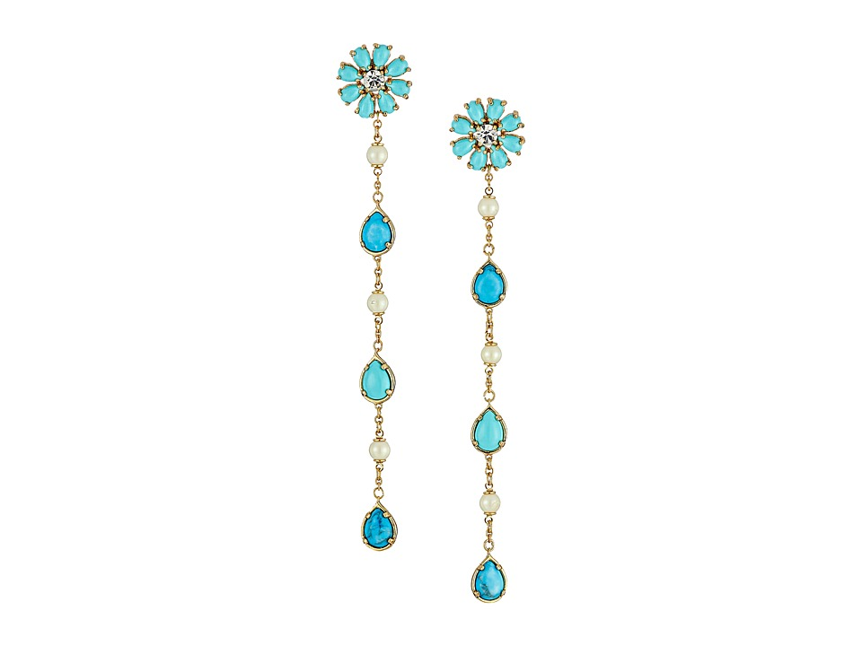 Kate Spade New York - Crystal Arches Linear Earrings (Turquoise Multi) Earring