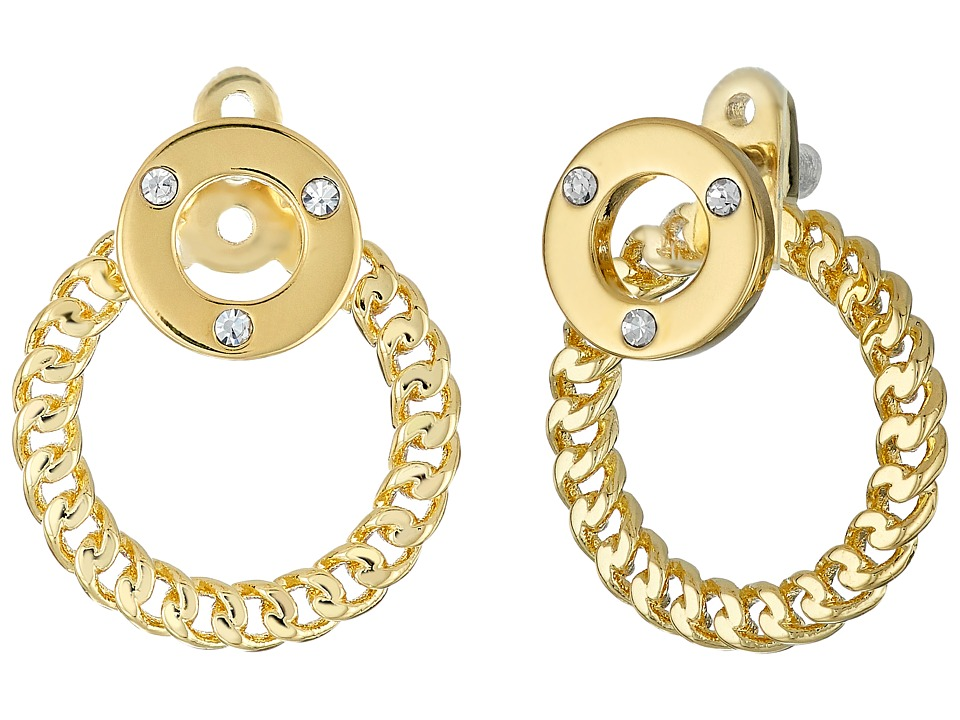 Kate Spade New York - Infinity Beyond Hoop Ear Jackets (Clear/Gold) Earring