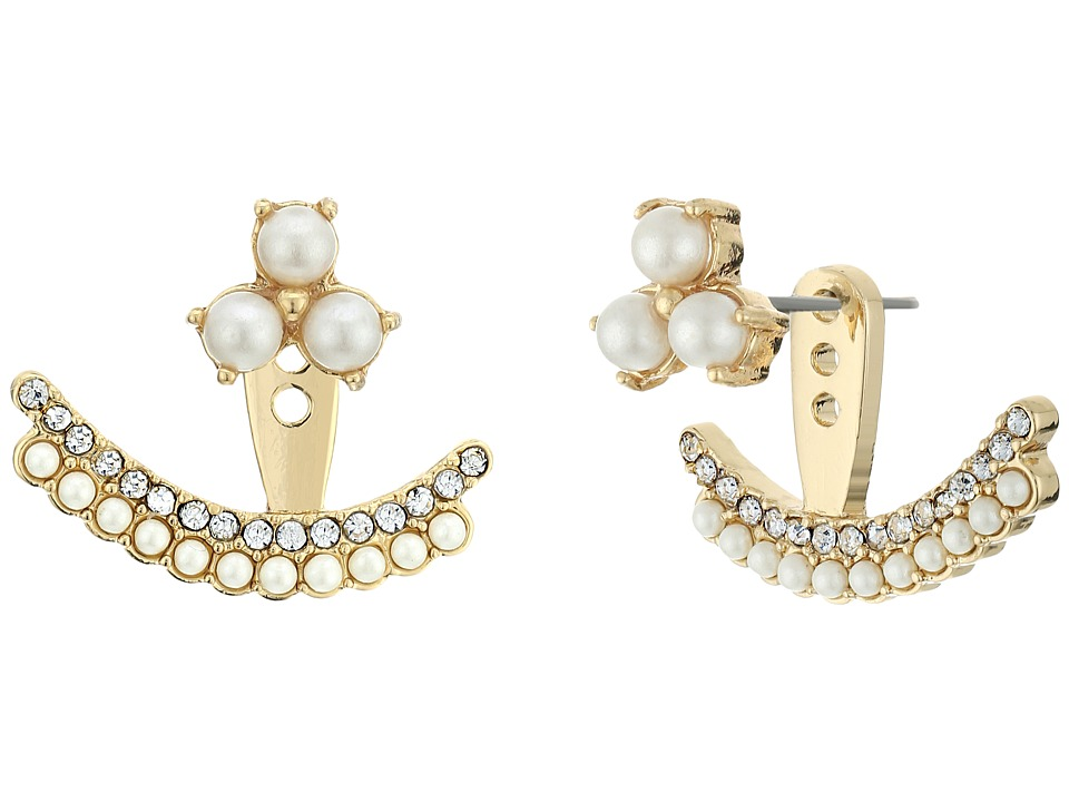 Kate Spade New York - Dainty Sparklers Double Row Ear Jackets (Cream Multi) Earring