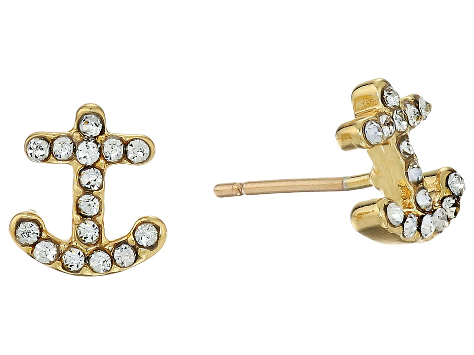 Kate Spade New York - Anchors Away Pave Anchor Stud Earrings (Clear/Gold) Earring