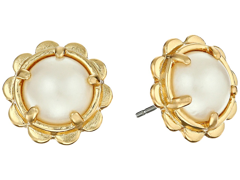 Kate Spade New York - Scalloped Edge Studs Earrings (Cream) Earring
