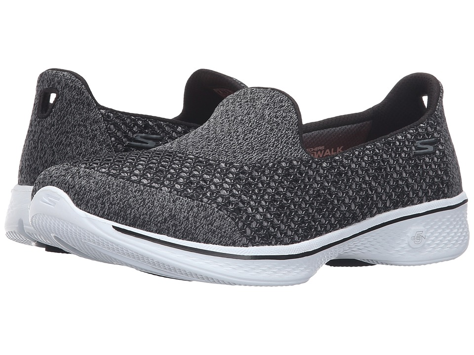 SKECHERS Performance - Go Walk 4 - Kindle (Black/White) Women's Slip on Shoes