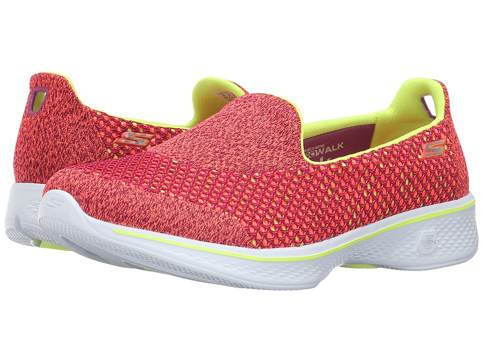 SKECHERS Performance - Go Walk 4 - Kindle (Pink/Lime) Women's Slip on Shoes