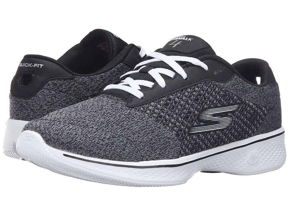 SKECHERS Performance - Go Walk 4 - Exceed (Black/White) Women's Lace up casual Shoes