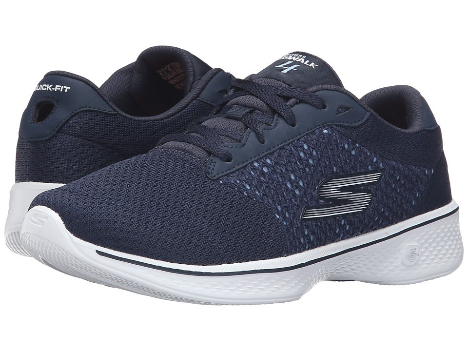 SKECHERS Performance - Go Walk 4 - Exceed (Navy/White) Women's Lace up casual Shoes