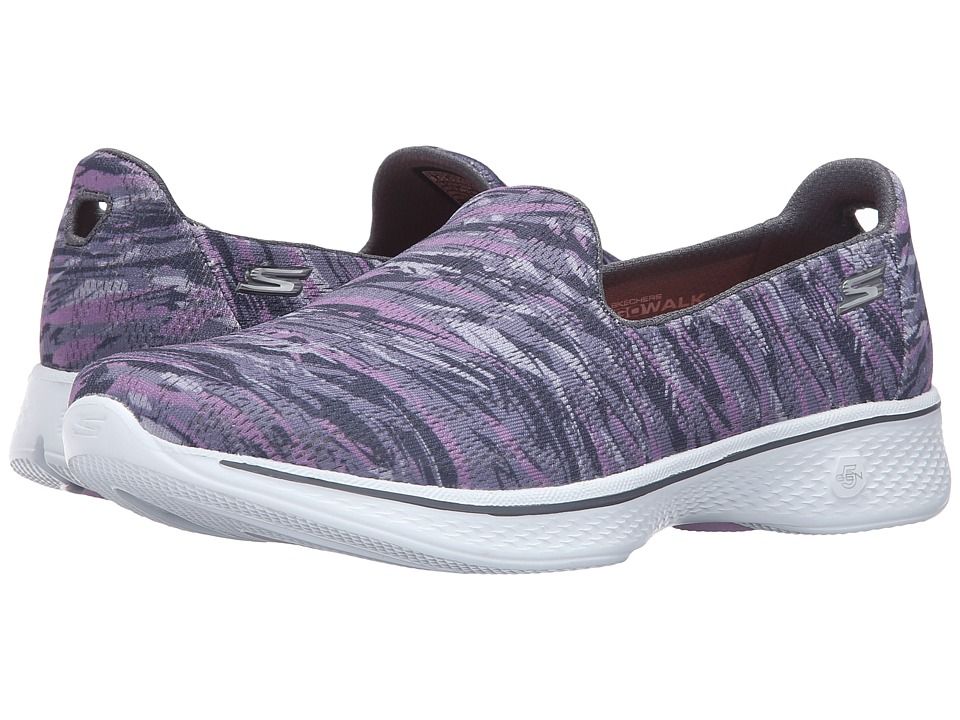 SKECHERS Performance - Go Walk 4 - Electrify (Gray/Purple) Women's Slip on Shoes