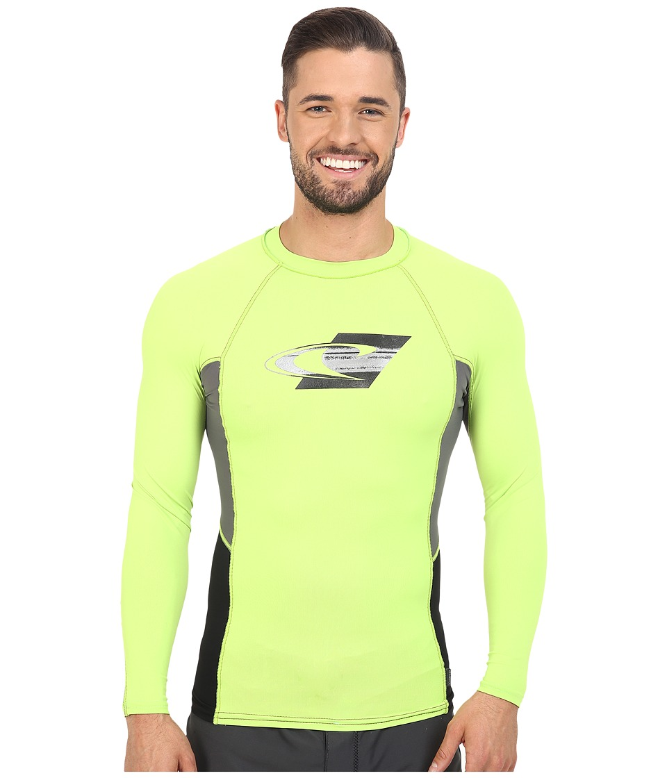 O'Neill - Skins Graphic Long Sleeve Crew (Lime/Graphite/Black) Men's Swimwear