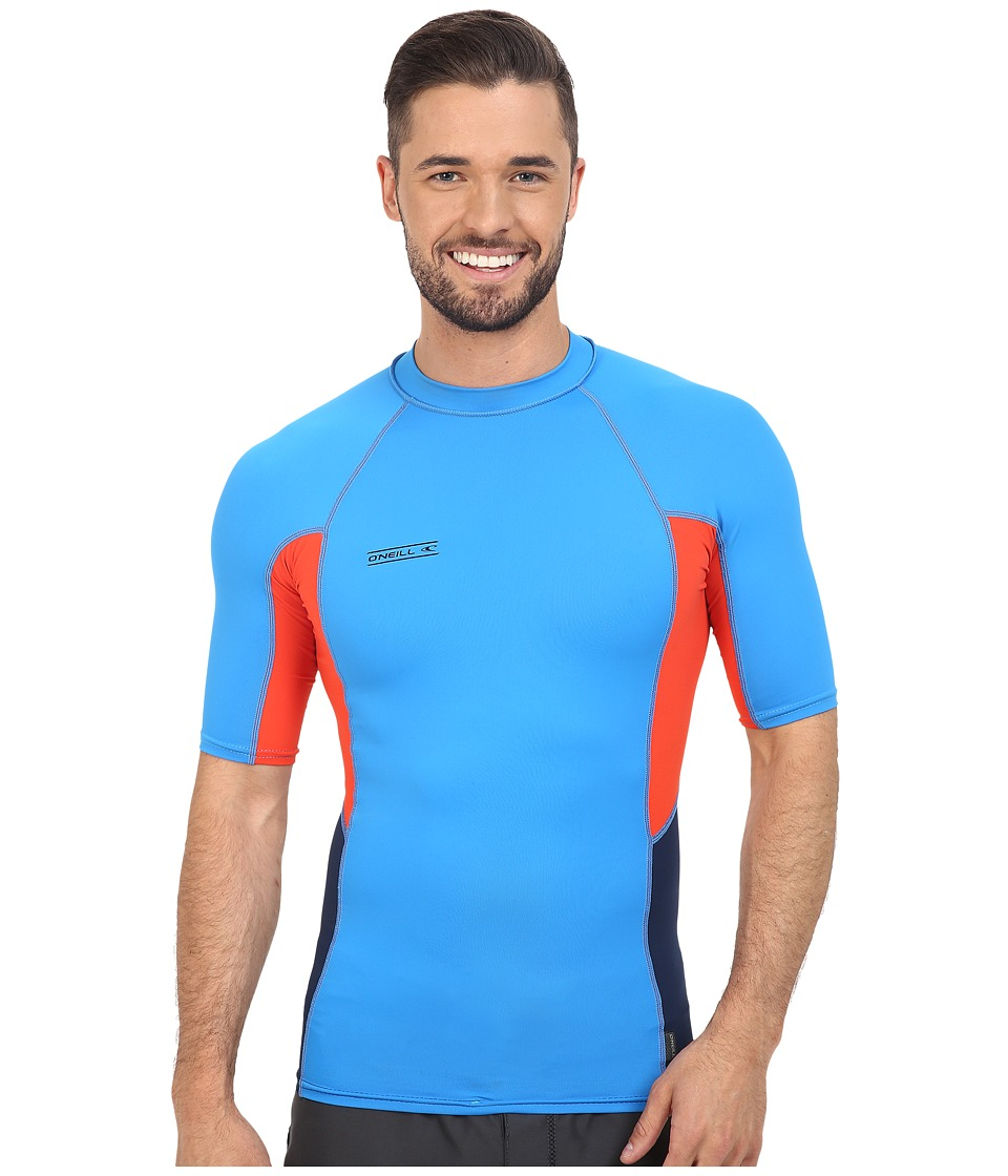 O'Neill - Skins Graphic Short Sleeve Crew (Brite Blue/Neon Red/Navy) Men's Swimwear