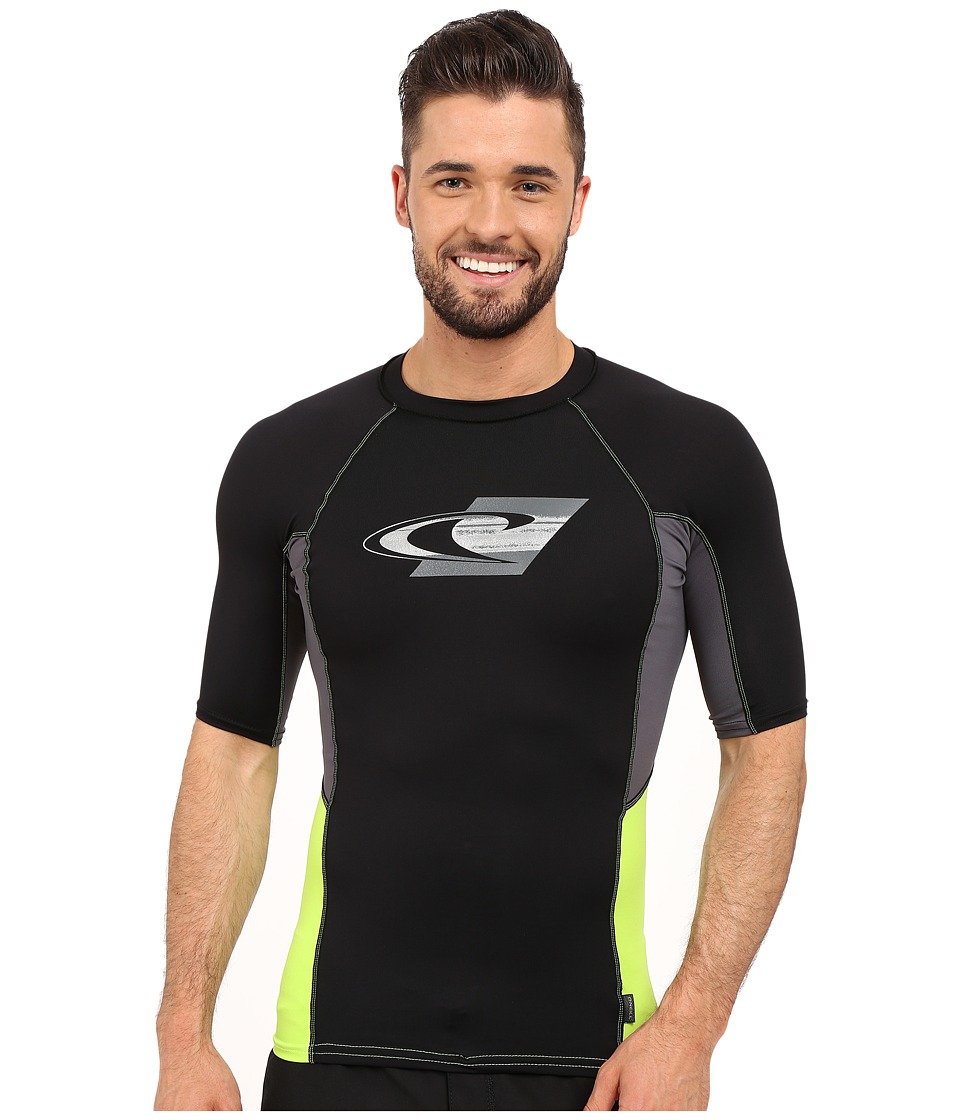 O'Neill - Skins Graphic Short Sleeve Crew (Black/Graphite/Lime) Men's Swimwear