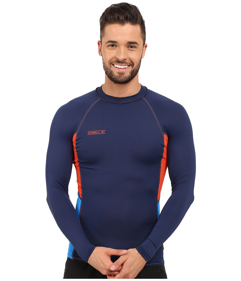O'Neill - Skins Graphic Long Sleeve Crew (Navy/Neon Red/Brite Blue) Men's Swimwear