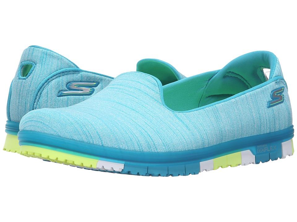 SKECHERS Performance - Go Mini Flex (Turquoise/Lime) Women's Slip on Shoes