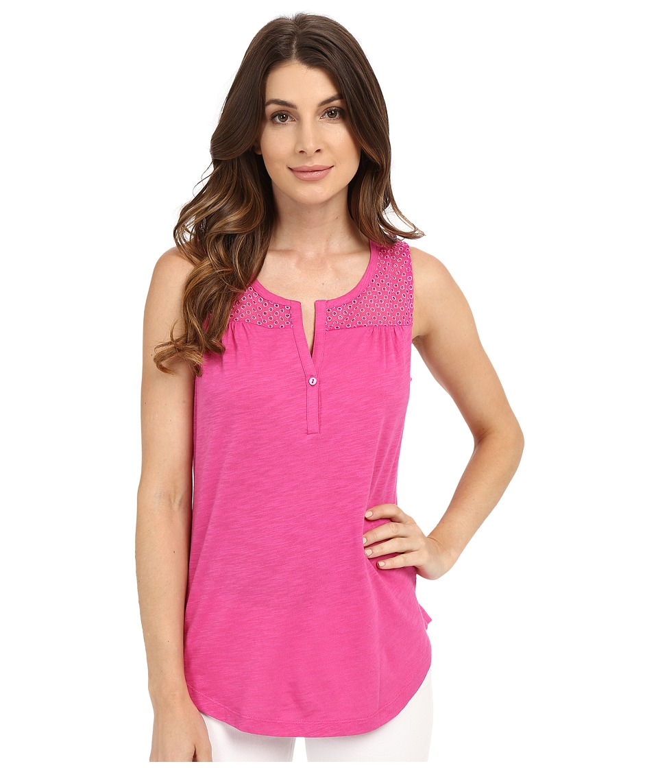 NYDJ - Eyelet Knit Tank Top (Neon Pop) Women's Sleeveless