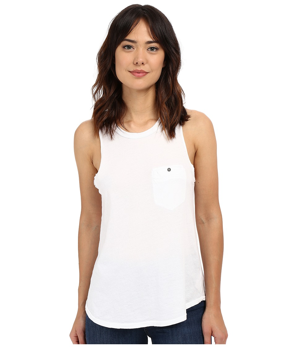 Project Social T - Worn Pocket Tank Top (White) Women's Sleeveless