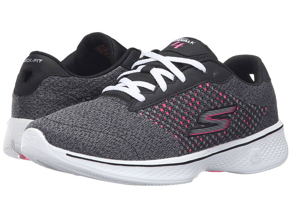 SKECHERS Performance - Go Walk 4 - Exceed (Black/Hot Pink) Women's Lace up casual Shoes