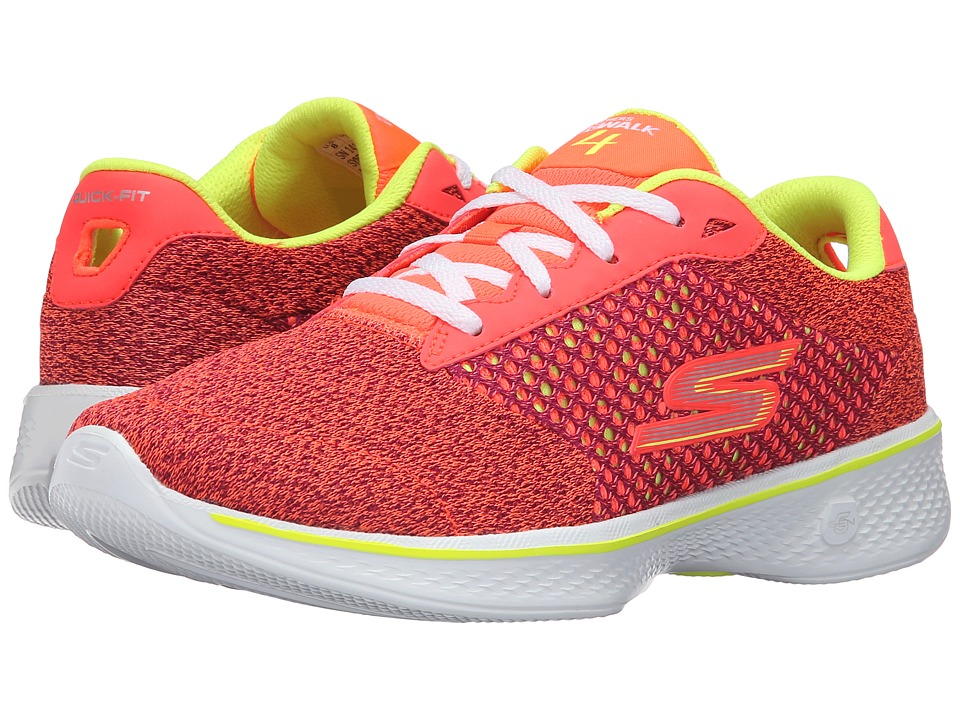 SKECHERS Performance - Go Walk 4 - Exceed (Pink/Lime) Women's Lace up casual Shoes