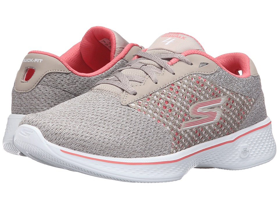 SKECHERS Performance - Go Walk 4 - Exceed (Taupe/Coral) Women's Lace up casual Shoes