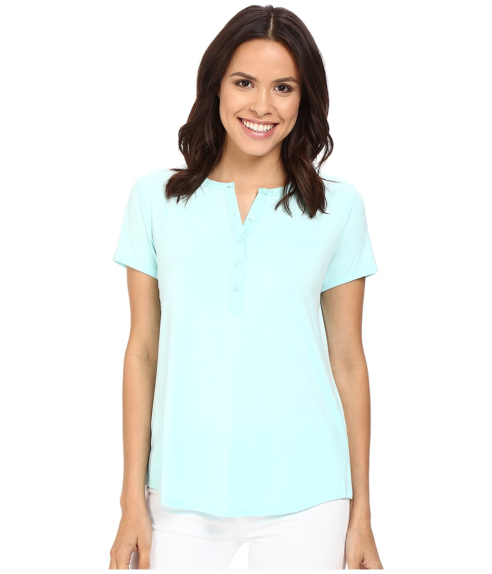 NYDJ - Pleat Back Knit Top (Aqua Salt) Women's T Shirt