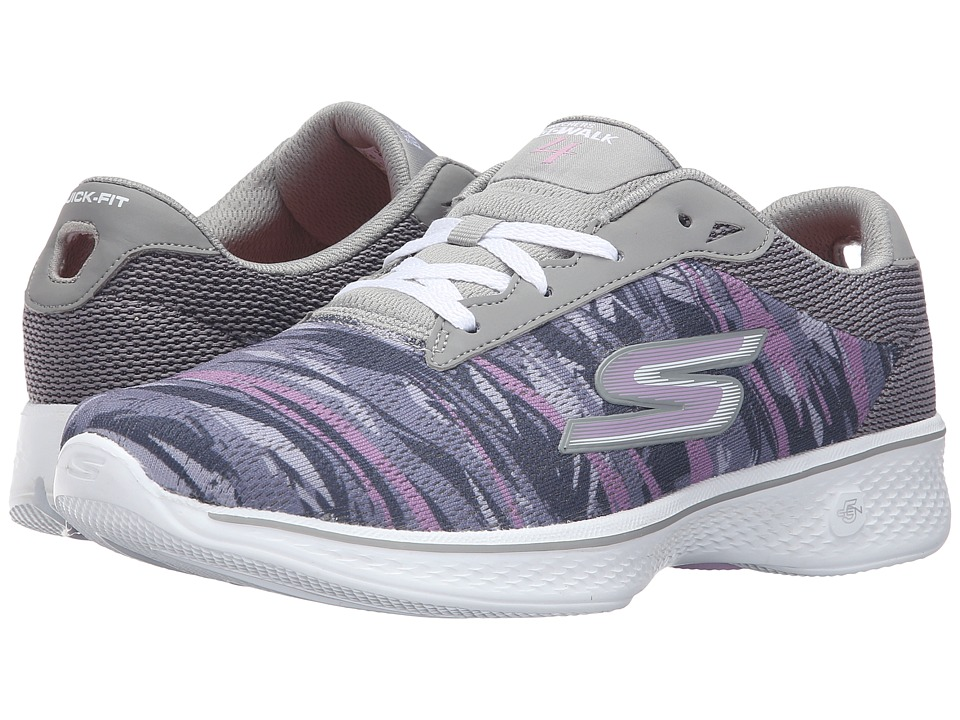 SKECHERS Performance - Go Walk 4 - Motion (Gray/Purple) Women's Lace up casual Shoes