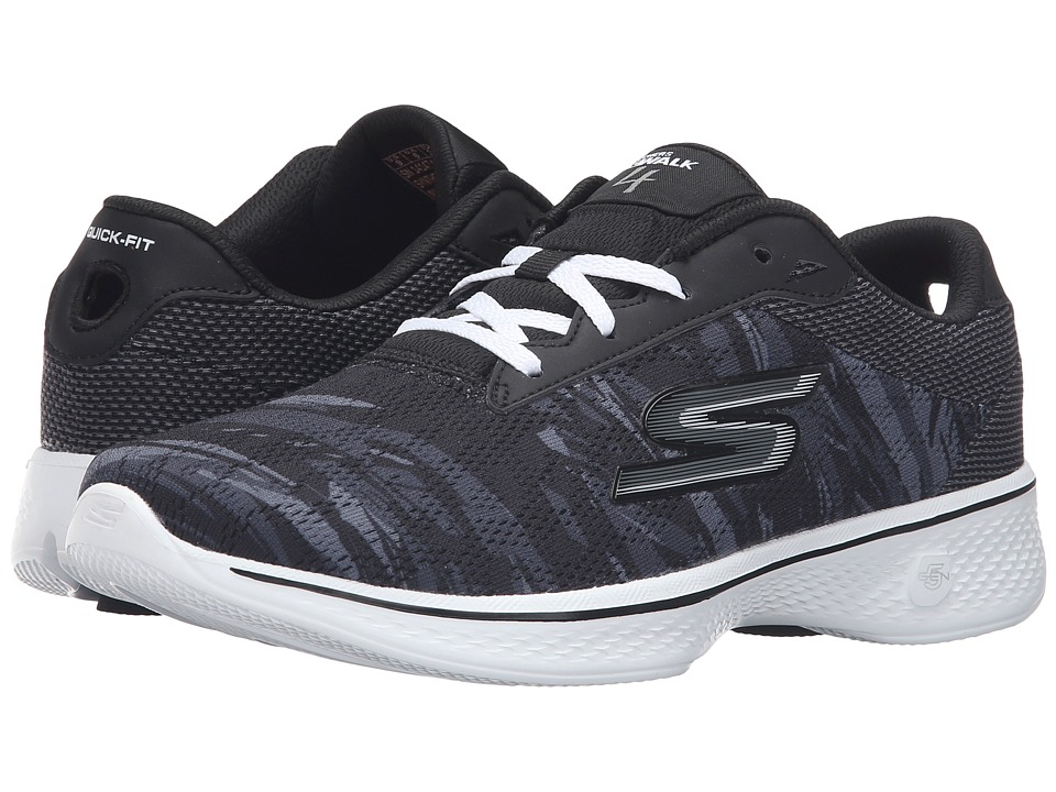 SKECHERS Performance - Go Walk 4 - Motion (Black/White) Women's Lace up casual Shoes