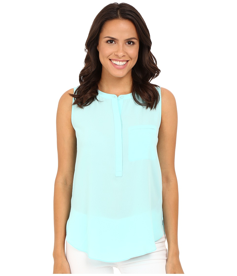 NYDJ - Sleeveless Georgette Blouse w/ Pleated Back (Aqua Salt) Women's Sleeveless