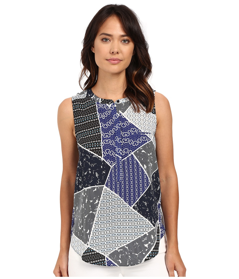 NYDJ - Sleeveless Georgette Blouse w/ Pleated Back (Cote D Azure Patchwork Blue) Women's Sleeveless
