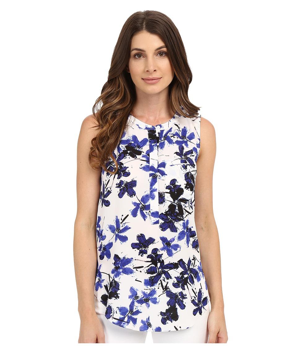 NYDJ - Sleeveless Georgette Blouse w/ Pleated Back (Miramar Floral Blue) Women's Sleeveless